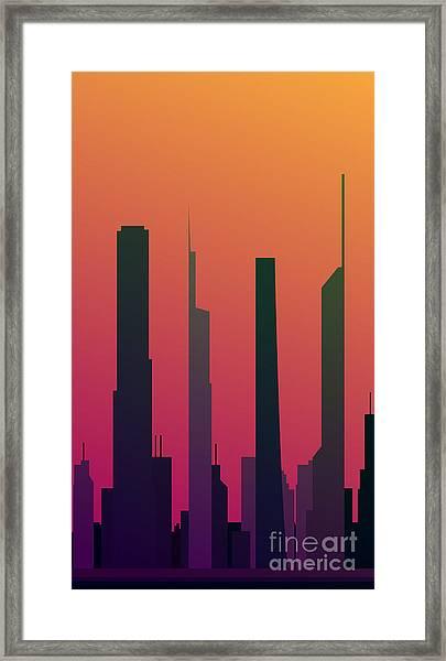 Cityscape Design Orange Version   Eps10 Framed Print by Clickhere