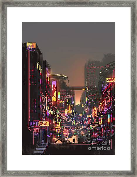 Cityscape Digital Painting Of Building Framed Print