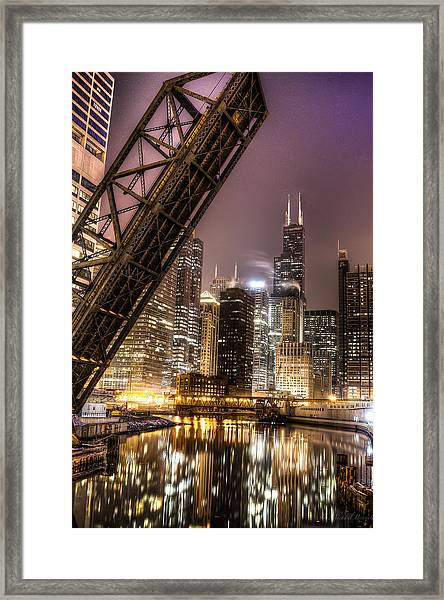 Cityscape Reflection In Chicago River March 2014 Framed Print by Michael  Bennett