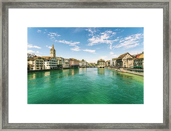 Cityscape With Old Town And Limmat Framed Print