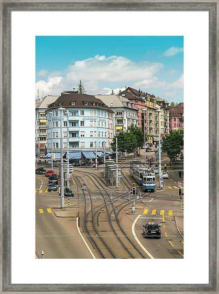 Cityscape With Schaffhauser Square Framed Print