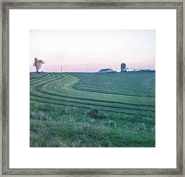 Farm Fields At Dusk Framed Print