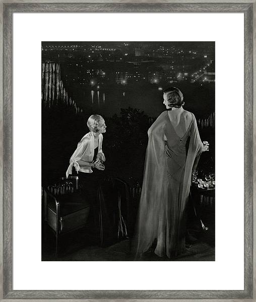 Claire Coulter And Avis Newcomb Wearing Evening Framed Print by Edward Steichen