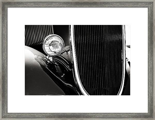 Classic Car Grille Black And White Framed Print