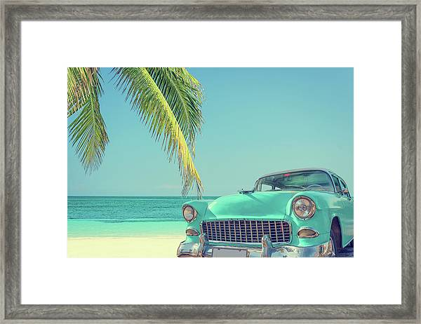 Classic Car On A Tropical Beach With Framed Print
