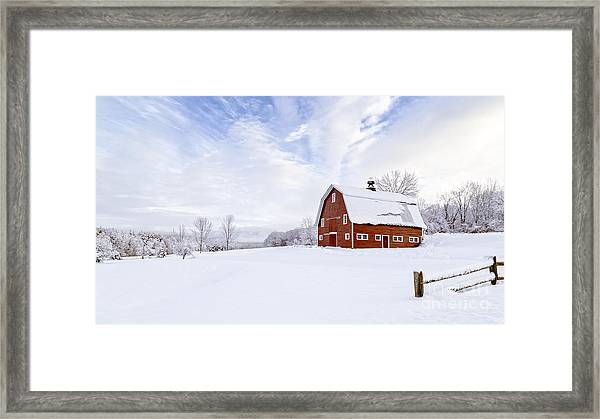 Classic New England Red Barn In Winter Framed Print