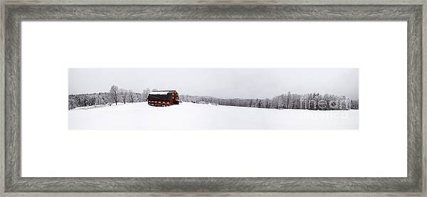 Classic New England Red Barn In Winter Storm Framed Print
