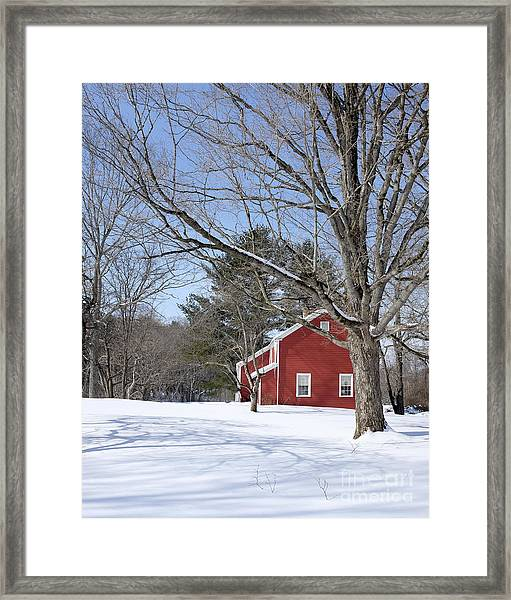 Classic Vermont Red House In Winter Framed Print