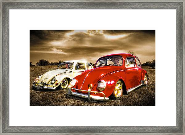 Classic Vw Beetles Framed Print by Ian Hufton
