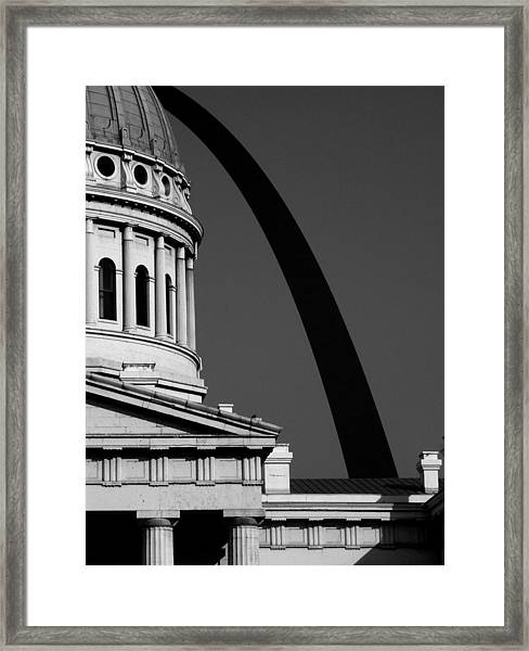 Classical Dome Arch Silhouette Black White Framed Print