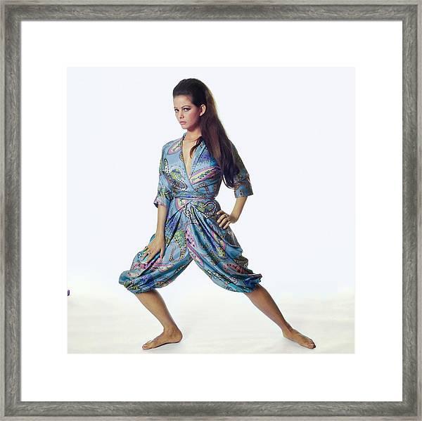 Claudia Cardinale Wearing Hollywood Vassarette Framed Print by Bert Stern