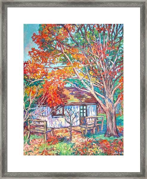 Claytor Lake Cabin In Fall Framed Print