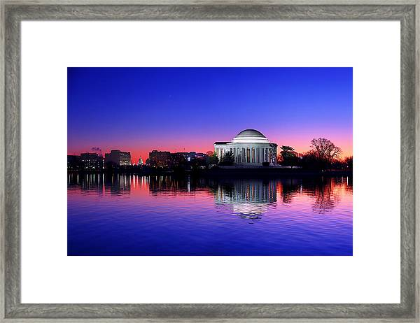 Clear Blue Morning At The Jefferson Memorial Framed Print