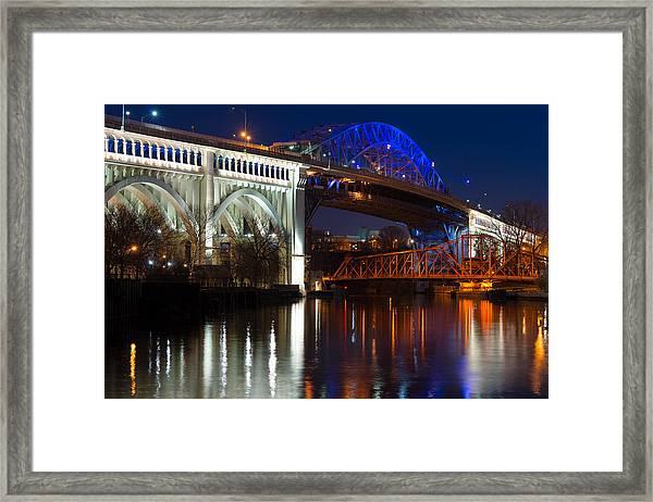 Cleveland Bridge Reflections Framed Print