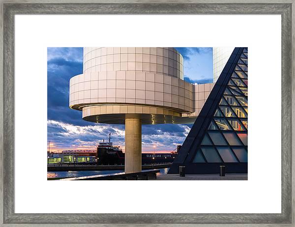 Cleveland Cliffs Barge And Rock Hall Framed Print