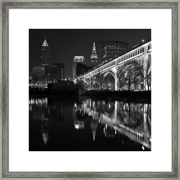Cleveland Reflections In Black And White Framed Print