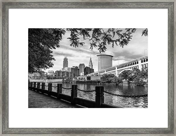 Cleveland River Cityscape Framed Print