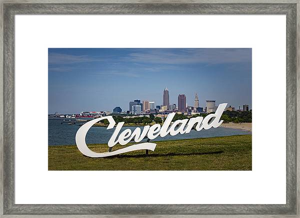 Cleveland Sign And Skyline Framed Print by Photo by Mike Kline (notkalvin)
