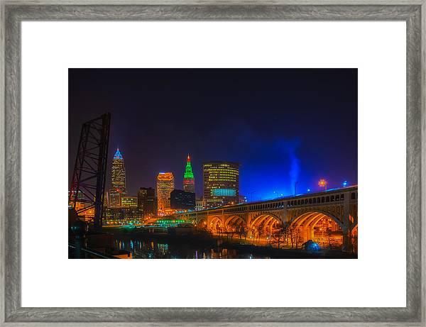 Cleveland Skyline At Christmas Framed Print