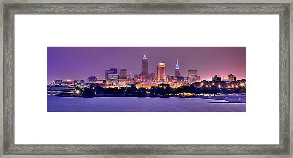 Cleveland Skyline At Night Evening Panorama Framed Print