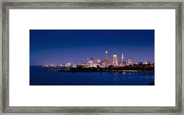 Cleveland Skyline Dusk Framed Print