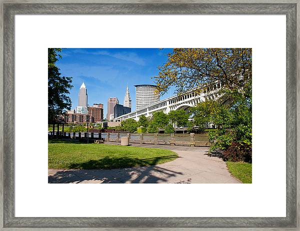 Cleveland Skyline From Riverbed Road Framed Print