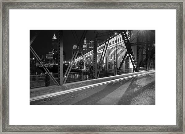 Cleveland Swing Bridge Skyline Framed Print