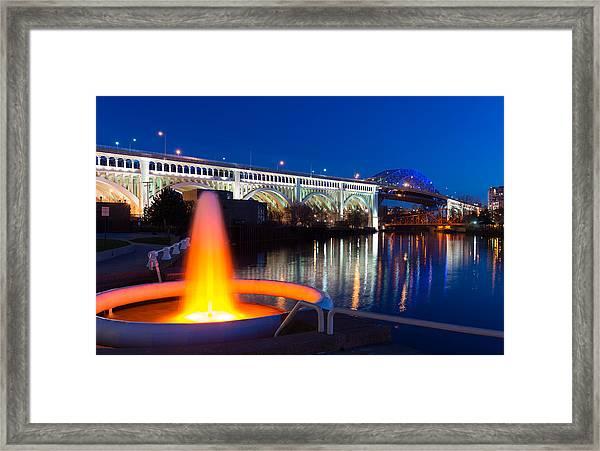 Cleveland Veterans Bridge Fountain Framed Print