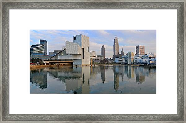 Cleveland Waterfront Daytime Panorama Framed Print