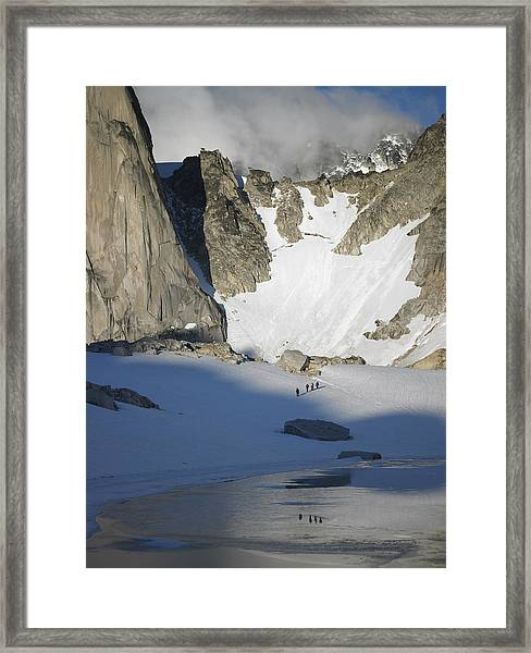 Climbers Enroute To The Bugaboo Snowpatch Col Framed Print by Richard Berry