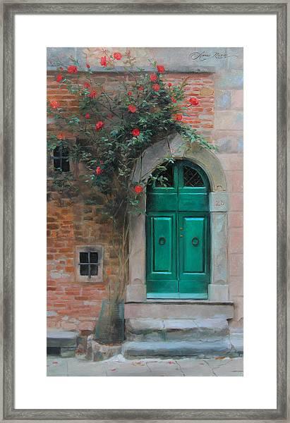 Climbing Roses Cortona Italy Framed Print