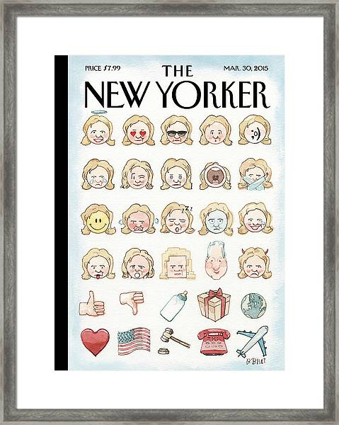Clinton's Emoji Framed Print by Barry Blitt