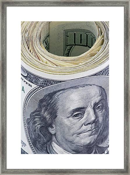 Close-up Of A Roll Of Us $100 Bills Framed Print by Jaynes Gallery