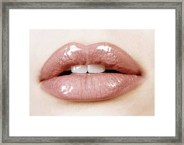 Close-up Of A Woman's Lips Framed Print by Digital Vision.