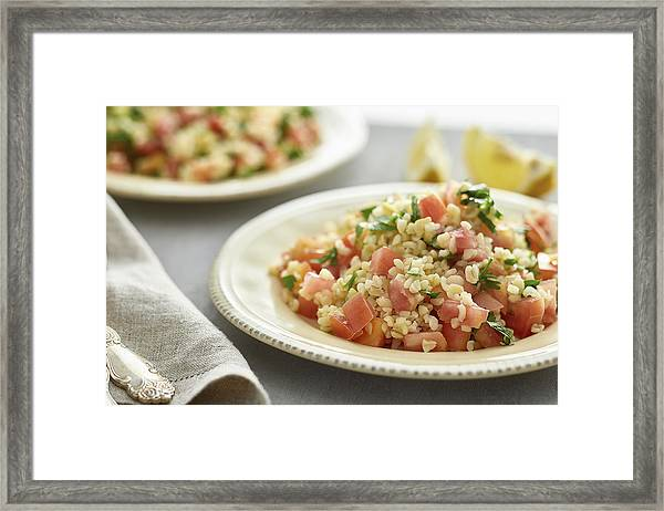 Close-up Of Food In Plate On Table Framed Print by Alexandr Sherstobitov