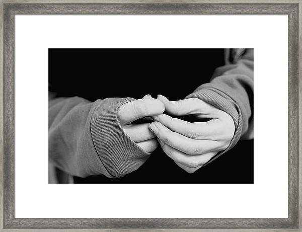 Close-up Of Hands Of Woman Framed Print by Terry Mcclendon / EyeEm