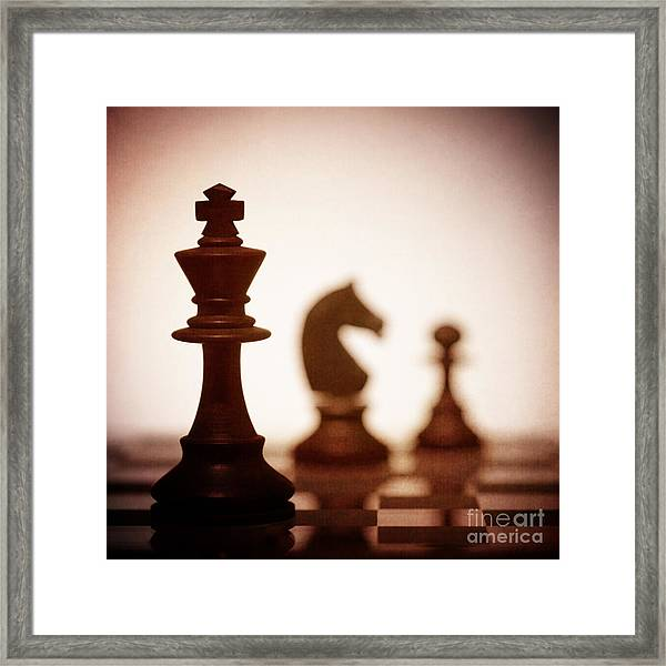 Close Up Of King Chess Piece Framed Print