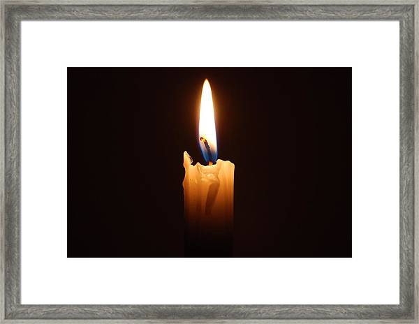 Close-up Of Lit Candle In Dark Room Framed Print by Lau Vzquez / EyeEm