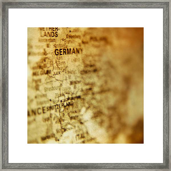 Close-up Of Map Of Western Europe Framed Print by Ryan McVay