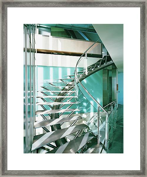 Close-up Of Modern Staircase Framed Print