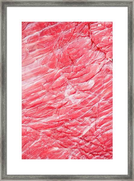 Close Up Of Raw Meat, Studio Shot Framed Print