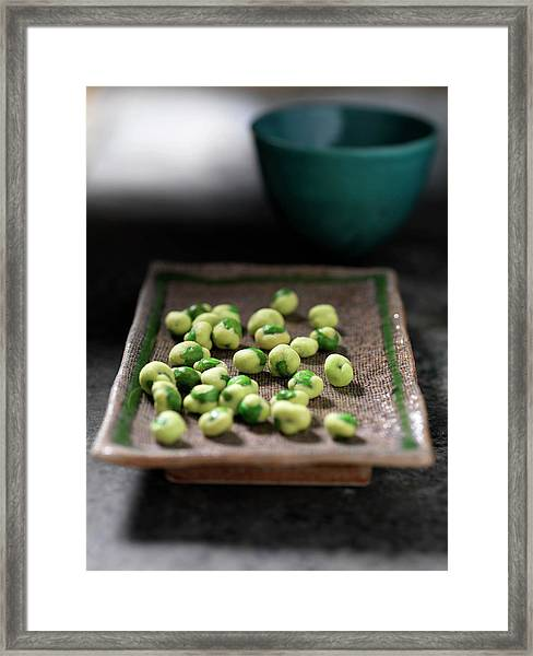 Close Up Of Tray Of Wasabi Peas Framed Print