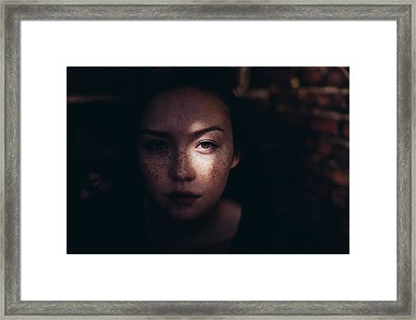 Close-up Portrait Of Woman Framed Print by Jonas Hafner / EyeEm