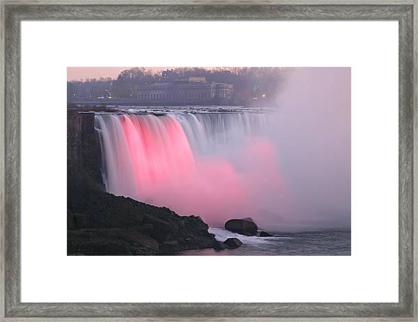Close Up Rainbow Falls Lit At Night Framed Print