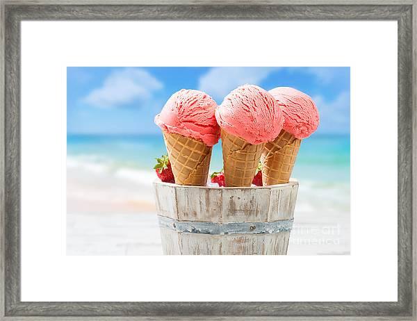 Close Up Strawberry Ice Creams Framed Print