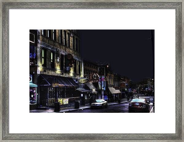 Framed Print featuring the photograph Memphis - Night - Closing Time On Beale Street by Barry Jones
