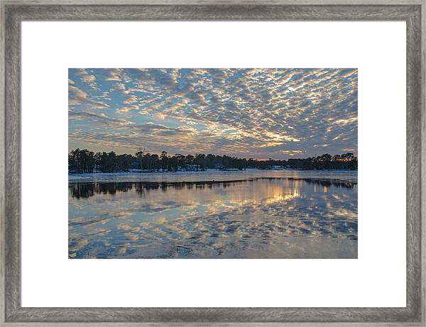 Framed Print featuring the photograph Cloud Deck Reflected At Sunset by Beth Sawickie