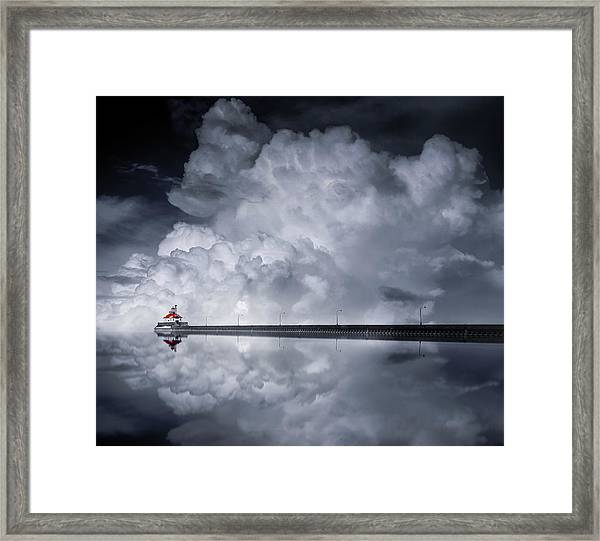Cloud Desending Framed Print