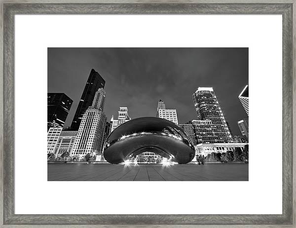 Cloud Gate And Skyline Framed Print