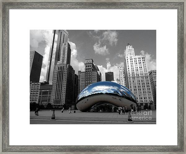 Cloud Gate B-w Chicago Framed Print